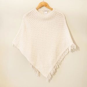 Cocogio cream knitted cape with fringe